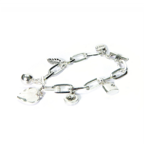 THICK SILVER CHARM BRACELET